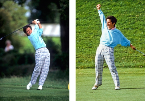 Alison Nicholas on the tee (left) and celebrating her win (right) at the 1987 Women's British Open Championship. Photographs by Lawrence Levy, from the University of St Andrews Library Photographic Collection.