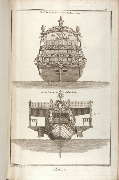 "Plate depicting ""Marine"" (ship building) from Diderot & d'Alembert's Encyclopédie (St Andrews copy at =sf AE25.D5)"