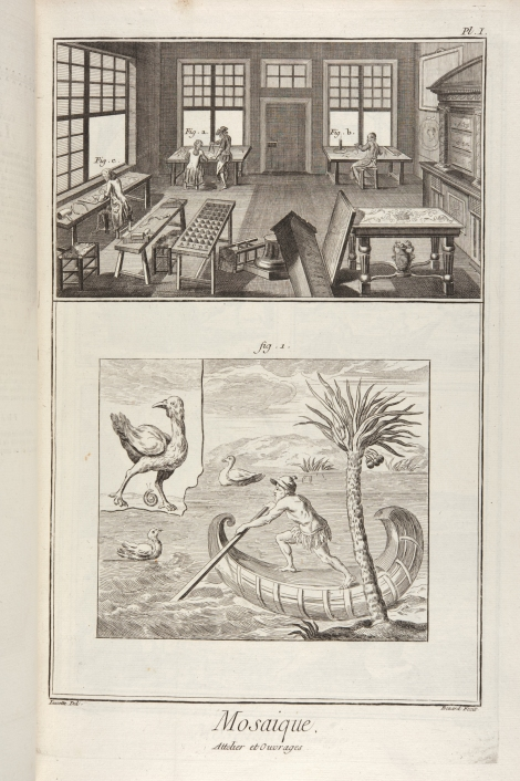 "Plate depicting ""Mosaique, Attelier et Ouvrages"" (mosaics) from Diderot & d'Alembert's Encyclopédie (St Andrews copy at =sf AE25.D5)"