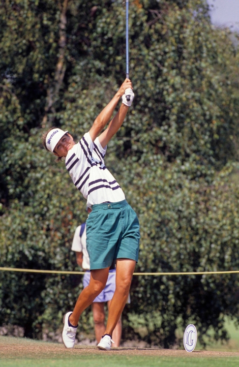 Muffin Spencer-Devlin on the tee at the 1989 Women's British Open Championship at Ferndown.