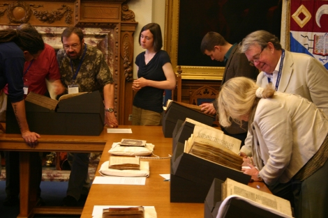 Delegates from the Society of Biblical Literature investigate some items from Special Collections at one of the workshop sessions.