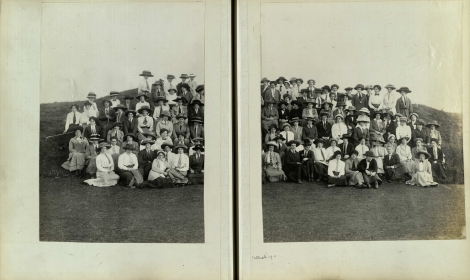 Portrait of the competitors at the Ladies' Home Internationals Royal Portrush Golf Club 12-13 May 1911 (from the University of St Andrews Manuscript Collection)