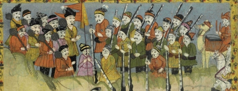 "Men with guns and clubs from 17th or 18th century manuscript copy of ""The Book of Wonders of the Age"" (St Andrews ms32(o))"