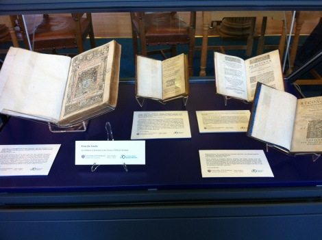 One of two display cases in the King James Library arranged for the Society of Biblical Literature conference, featuring works