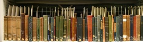 . Shelf containing Beveridge's collection of the four great Norwegian writers, Henrik Ibsen, Björnstjerne Björnson, Alexander Kielland, and Jonas Lie.