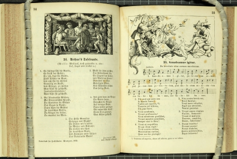 Arthur toasts his knights and a boy and girl toast a musical skeleton in this outstanding illustrated book of German songs, Alte und neue Studenten Lieder. (And M1961.R5)
