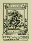 This illustrated bookplate marks the titles in the Anderson collection.