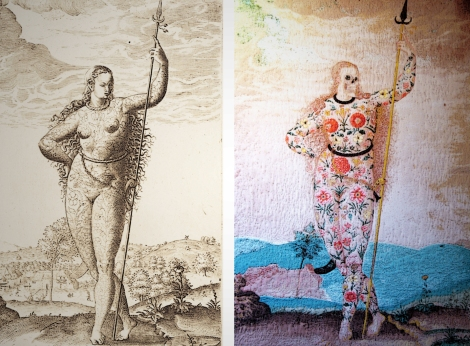 Two interpretations of Le Moyne's A Young Daughter of the Picts: de Bry's 16th century engraving (left) and Taylor's 21st century digital tapestry.