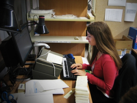 A Phase 1 student cataloguer hard at work.