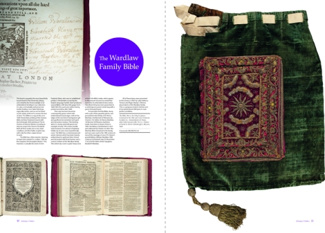 The two-page spread for the Wardlaw Bible (Bib BS170.C40) from Issue 1 of 600 Years of Book Collecting