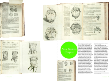 The two-page spread for Thomas Simson's copy of Vesalius' . De Humani Corporis Fabrica (Sim QM21.V2) from Issue 2 of 600 Years of Book Collecting