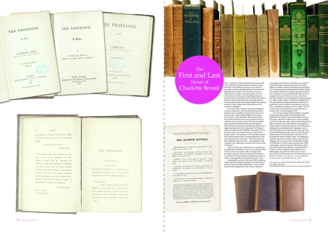 The two-page spread for the first English, American and European editions of Emily Brontë's The Professor from Issue 3 of 600 Years of Book Collecting