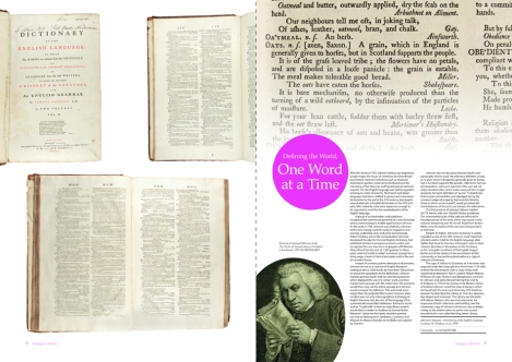 The two-page spread for Samuel Johnson's A Dictionary of the English Language (sf AG5.J6D55 (SR)) from Issue 3 of 600 Years of Book Collecting