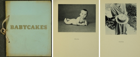 Front cover and two plates from Ed Ruscha's Babycakes with weights (St Andrews copy Photo N7433.4R87B3 1970)