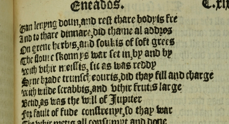 "Book 7 of The Eneados is the first appearance of the word ""scone"" ever. Here, in the first printed edition of 1553, it appears on the fourth line of leaf 119r (St Andrews copy TypBL.B53CV)"