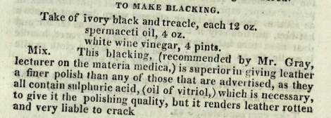 The main receipt for blacking, containing oil and vinegar. The Complete Servant, p. 390 (St Andrews copy sTX331.A2).
