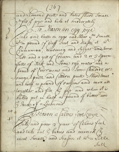 Recipe for an Egg Mince Pie from ms38930, a recently acquired Scottish manuscript cookery book, c.1710