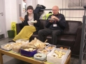 Judging of the vegetarian mince pies, Cecilia looks impressed, Norman not so sure!