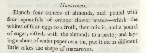 Recipe for macaroons, from A New System of Domestic Cookery. St Andrews copy sTX717.R8