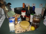 All of the ingredients needed to make the trifle.