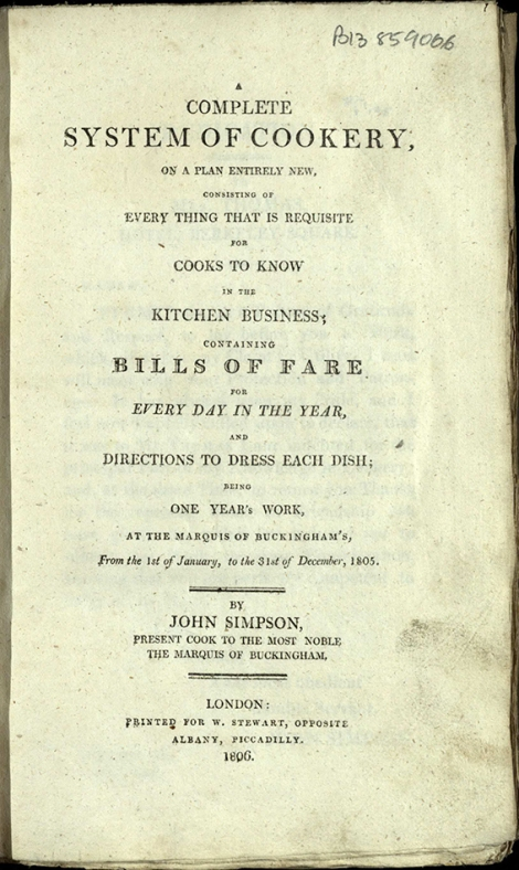 Title page of A Complete System of Cookery, detailing the outline of the work.