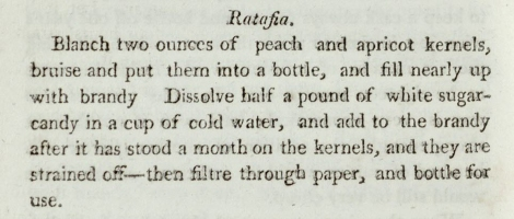 The recipe for ratafia from Mrs Rundell's A New System of Domestic Cookery. St Andrews copy sTX717.R8