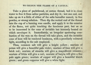 To colour the flame of a candle (sGV1471.P2).