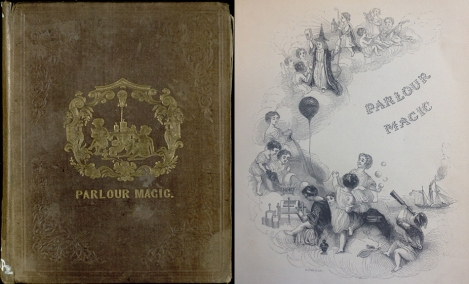 Cover of Parlour Magic (sGV1471.P2) and engraved title page.
