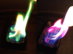 Experimenting with fire: On the left is Copper Chloride mixed with Bio-ethanol, on the right is Lithium Chloride mixed with Bio-ethanol.