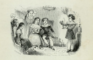 Engraving of a child performing to his friends (sGV1471.P2).
