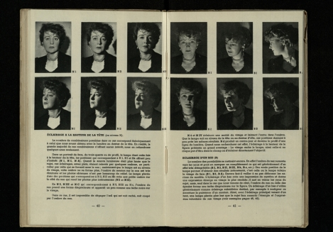 Natkin's examples of the effects of moving the position of key lighting for portrait photography, from his Éclairages artificiels (St Andrews copy Photo TR590.N38)