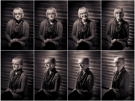 Recreation of straight on and three-quarter portraits with varying light placement. Rachel Hart, Muniments Archivist