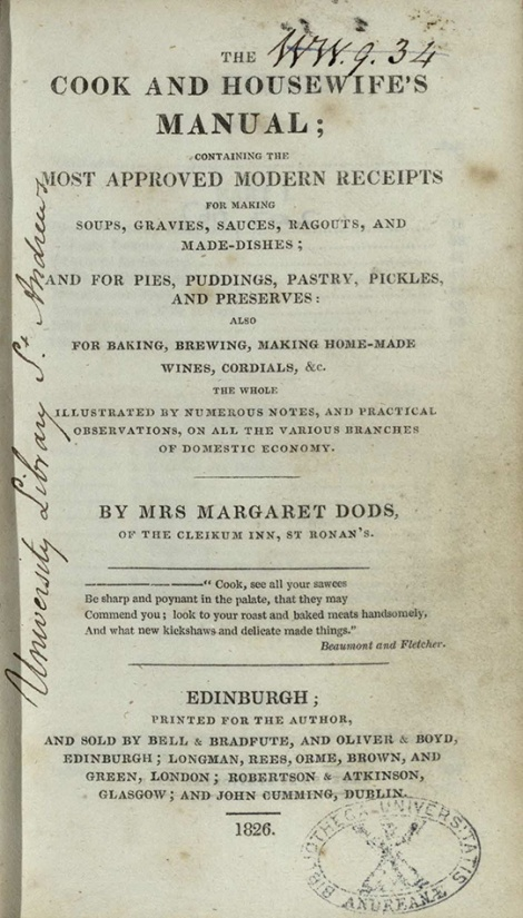 Title page of the first edition of The cook and housewife's manual. St Andrews copy at s TX717.J6 (SR).