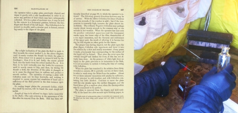 Pages 226 and 227 explaining the delicate process of pouring collodion (s TR210.H2).