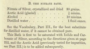 Formula for the bath of silver nitrate.