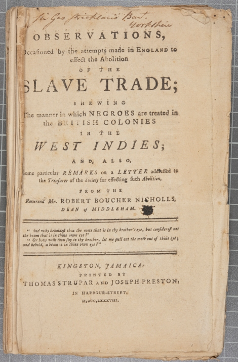 The title page of Gilbert Francklyn's Observations, occasioned by the attempts made in England to effect the abolition of the slave trade. (Kingston, Jamaica, 1788)