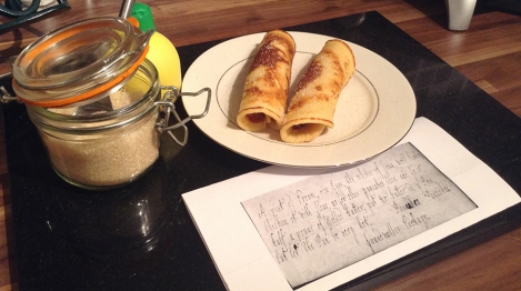 pancakes and photocopy of manuscript recipe.