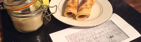 pancakes and photocopy of manuscript recipe.