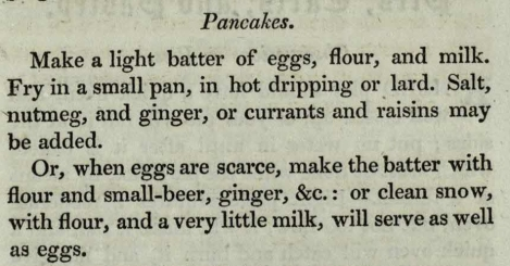 Pancake recipe with snow from The Modern Cookery, sTX717.L2