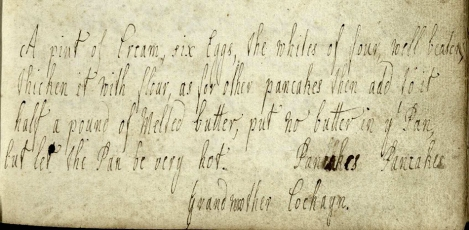 Grandmother Cockayn's Pancake Recipe (ms38783)