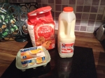 Ingredients for Mrs Greig's pancakes, eggs, mik, flour..
