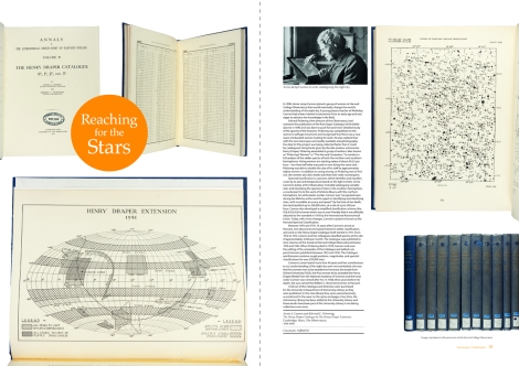 Two-page spread from Issue 4 of 600 Years of Book Collecting, featuring Annie Cannon's The Henry Draper Catalogue & Extension (f QB4.H33)