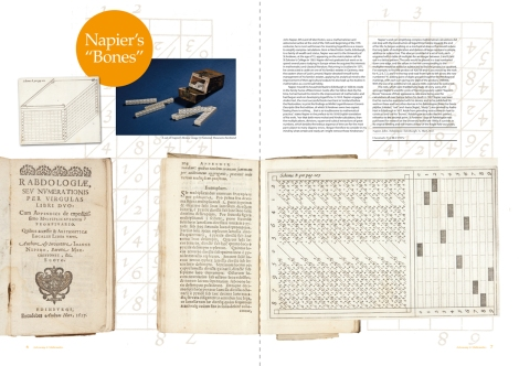 Two-page spread from Issue 4 of 600 Years of Book Collecting, featuring the first edition of John Napier's Rabdologiae (TypBE.C17HN)