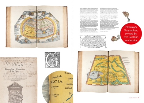 Two-page spread from Issue 5 of 600 Years of Book Collecting, featuring a hand-coloured 1541 printing of Ptolemy's Geographicae.
