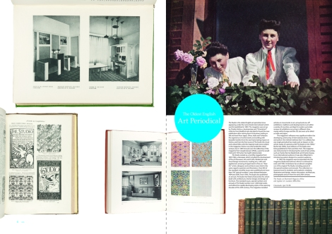 Two-page spread from Issue 6 of 600 Years of Book Collecting, featuring issues of The Studio