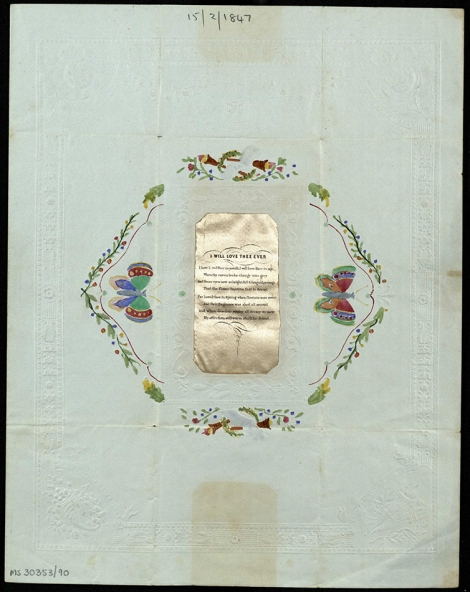 Valentine sent to Frank B Simson, East India College, 14 Feb 1847 (ms30353/90)