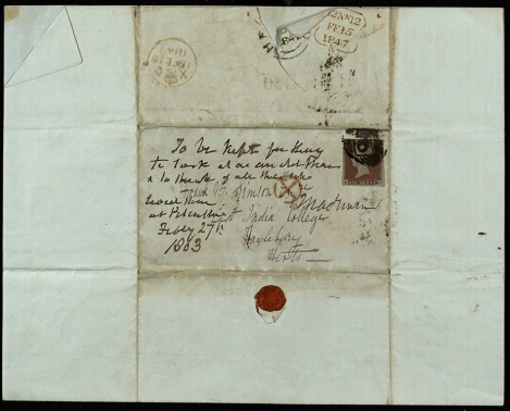 Reverse of a Valentine sent to Frank B Simson at the East India College (ms30353/90)