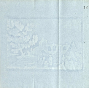 The thickness of the pulp could be varied deliberately when making paper; the effect of light and shade would then produce a picture, as is demonstrated in this sample from  Paper & Paper Making, Ancient and Modern, by Richard Herring (London, 1856).
