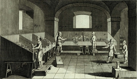 Here we can see the boys at work, cutting up the rotten rags. The stools upon which they stand were to be of different sizes, as boys of different heights were employed in this work, and they had to be able to do their work comfortably. Encyclopédie,  Planches tome 5, pl. III (St Andrews copy sf AE25.D5)