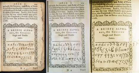 The image on the left is from the copy of Browne's Calligraphia held at the University of Glasgow (classmark: Sp Coll Mu31-h.3), lettered in a contemporary hand, possibly that of the author.  The two images to the right are our attempts to follow Browne's instructions.